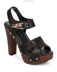 on clearance nature breeze eb05 women leatherette p toe studded wooden chunky heel clog sandal black