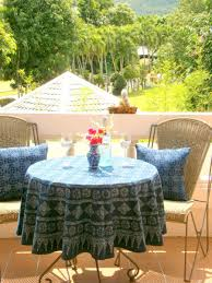 round table cloth in hmong indigo batik cotton 90 75 or 60 inches