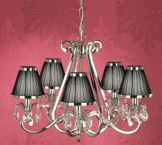 oksana nickel 5 light chandelier crystal drops black shades