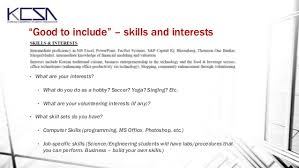 resume and cover letter workshop october 2013 - Resume Skills And Interests  Examples