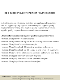 Supplier Quality Engineer Resume Sample Top 60 supplier quality engineer resume samples 2