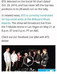Bts Debuted On The Social 50 Chart Dated Oct 29 2016 And Has