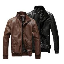 fashion man leather jacket slim motorcycle leather outwear intl