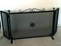 ornate fireplace screens solid wrought iron screen with copper plated knobs decorated triptych doors p decorative cast replace scr