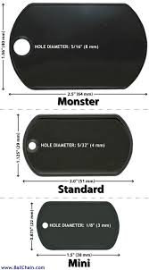 Dog Tag Size Chart Dog Tag Dimensions Ball Chain Mfg Co Inc