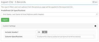 Admin Control Panel > Users > Management: Export CSV