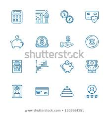Investment Pyramid Chart Collection 16 Financial Outline Icons Include Stock Vector