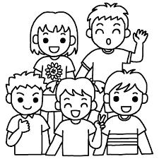 はいポーズ白黒友達の無料イラスト子ども幼児人物素材