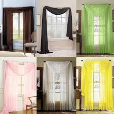 sheer voile window curtains solid scarf