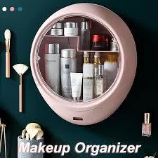 Bathroom <b>Wall mounted Makeup</b> Holder Round <b>Cosmetic Storage</b> ...