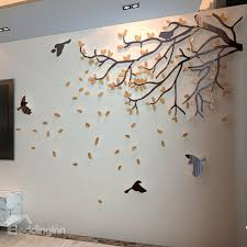 47 orange tree and birds acrylic sy waterproof eco friendly removable 3d wall stickers