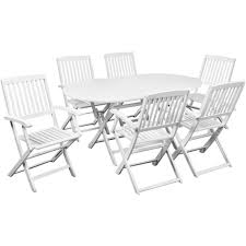 patio furniture dining set outdoor wood folding 7 piece garden table and chairs
