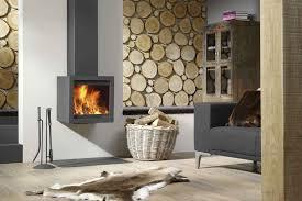 dark grey glass box wall hung fireplace heater slab wood theme accent wall light brown