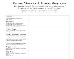 Project Front Page Sample One Page Project Proposal Template