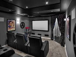 elegant cine poster vogue edmonton transitional home theater innovative designs with black and gray carpet coffered ceiling curtains home theatre