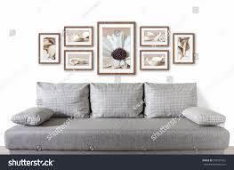modern picture frames collage. Frames Collage With Abstract Floral Pictures Over Modern Couch, Interior Decor Mock Up Picture