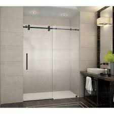 frameless sliding shower door in oil rubbed bronze