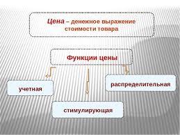 Презентация на тему Ценообразование на предприятии  Цена денежное выражение стоимости товара учетная стимулирующая распределит