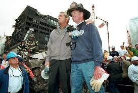 george w bush calm no qualms ny daily news bush s the site of the world trade center disaster after the 11 attacks