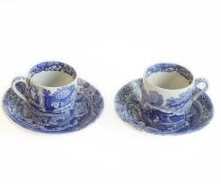 Cornishware blue & white stripe sets of coffee cups mugs. Antique Spode Blue And White Coffee Cup And Saucer Set Of 2
