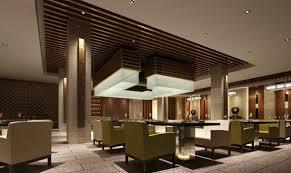 Restaurant Hall Interior Ceiling Design Rendering