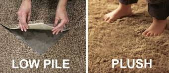 a visual comparison of low pile and plush carpeting if your carpet or