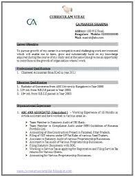 ... Professional Curriculum Vitae Resume Template Sample Resume Format For  Chartered Accountant Freshers