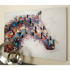 horse head color field dimensional by uma wall art 85940 the home depot