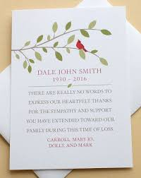 Personalized Sympathy Thank You Cards Funeral Acknowledgement Cards Sympathy Thank You Cards With A Red