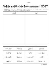 We have one worksheet dedicated to each consonant in the alphabet. Middle And Ending Double Consonants Sorting Worksheet By 4 Little Baers
