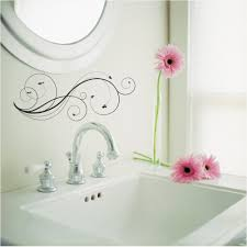 bathroom bathroom flower wall decals design with white interior color decor small wash basin with