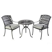 bistro table 2 venetian chairs black 2 x seat pads