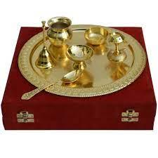 german silver golden pooja thali boontoon