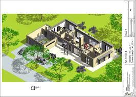 plan maison contemporaine plain pied 5 chambres