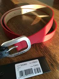 las womens red leather silver buckle sel belt size 90 36 new