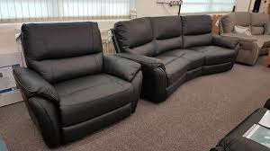 teo black leather 4 seater curved sofa xl armchair can deliver
