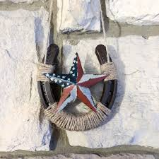 horseshoe wall decor with american flag