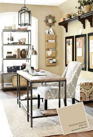 modern home office design displaying. Home Office With Ballard Designs Furnishings. Benjamin Moore Wheeling Neutral Paint Color. Modern Design Displaying L