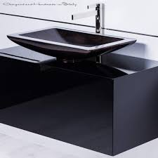 inch black bathroom vanity with rectangular vessel sink and faucet