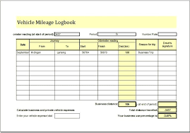 Vehicle Mileage Log Template Excel Business Expense Book Maker For