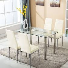 uenjoy gl dining table with 4 chairs set 30501071 2