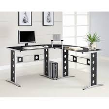 coaster shape home office computer desk. Coaster Modern L Shape Desk With Silver Frame \u0026 Black Glass Home Office Computer A