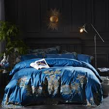2018 luxury india style embroidery bedding sets duvet cover 100 egyptian cotton purple red blue bedsheet queen king size duvet cover kids bedding from