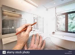Zeichnung Sanierung Ein Modernes Luxus Bad Badewanne In Corian