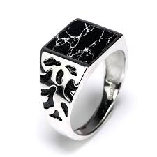Square Shape Ring Design Us 19 0 10 Off 925 Sterling Silver Vintage Mens Rings Adjustable Square Shaped Black Stone Flower Pattern Design Male Turkey Jewelry In Rings From