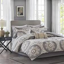 AMAZON DEAL U2013 Madison Park Essentials Serenity King Size Bed Comforter Set  Bed In A Bag U2013 Taupe, Medallion U2013 9 Pieces Bedding Sets U2013 Ultra Soft  Microfiber ...