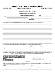 Sample Construction Contract Printable Sample Construction Contract Template Form Gardening