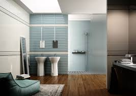 popular cool bathroom color: a nice modern blue light bathroom color scheme and nice mirror stand also pretty table lamp