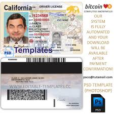 Template California Licence Driving Editable Psd Fully