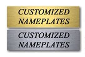 engraved new custom brushed silver gold office desk name plate 2 x 8
